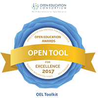 The OEL Toolkit won the Open Tool category of the OEC Open Education Awards for Excellence 2017